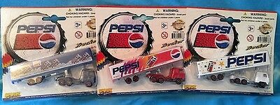 Complete Set of 3 Golden Wheel Pepsi Truckers w/Detachable European Tractors-New