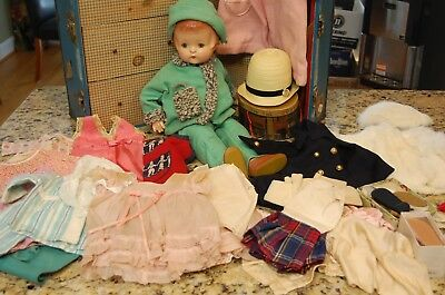 """Antique 20"""" EFFANBEE PATSY ANN Composition Doll w Steam Trunk CLOTHES -FUR COAT"""
