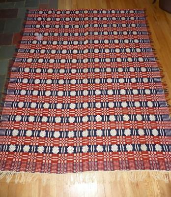 Antique Collectible Geometric Pattern Woven Coverlet 19c