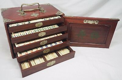 COMPLETE Antique Chinese Bone & Bamboo Mah Jong SET with Case Mahjong EXCELLENT