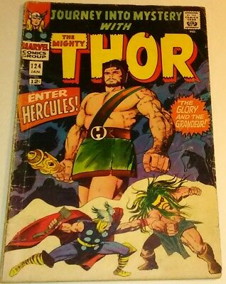 Journey into Mystery with Thor #124 (Jan 1966, Marvel) Enter Hercules/Very Good