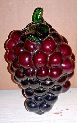~ Blenko ~ Art Glass Hand Blown Cluster of Purple Grapes & Emerald Green Stem
