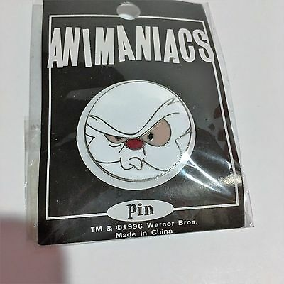 Warner Bros 1996 Animaniacs Pin Large Face Brain Enamel On Card With Plastic