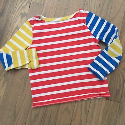 Mini Boden Girls Long Sleeve Striped Color Block Top Scoop Neck Size 3-4 Years