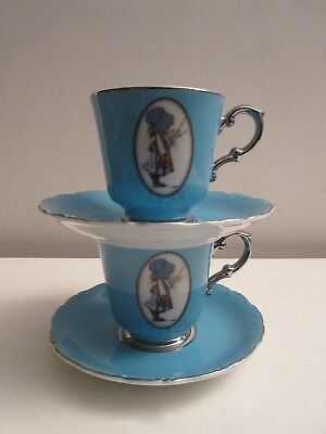 Vtg 1973 Holly Hobbie Blue Girl Platinum Cups & Saucers Lot Fine China Xlnt!