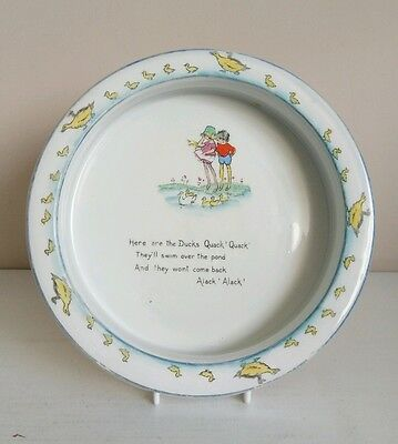 """Shelley """"Here are the Ducks Quack! Quack!"""" Baby's Plate - Hilda Cowham"""