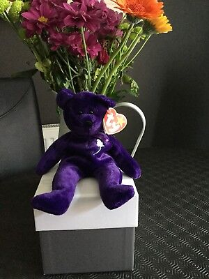 Original Ty Beanie Baby Princess Diana Purple Rare Indonesia Bear
