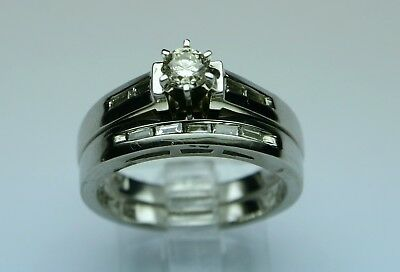 Platinum diamond eng.ring set 1/2cttw HISI No Reserve! vintage estate size 7