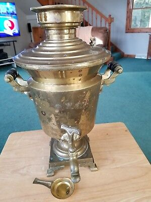 1850 Antique Russian Samovar, vintage brass tea pot