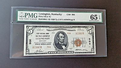 1929 $5  NATIONAL - LEXINGTON , KENTUCKY Ty. 2 - PMG 65 GEM\UNC EPQ !