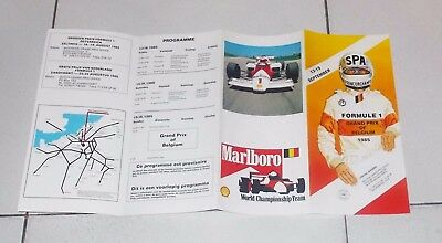 Brochure Formula 1 GRAND PRIX OF BELGIUM 1985 SPA Francorchamps F1 Depliant