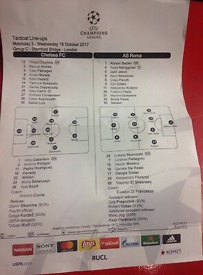 CHELSEA vs AS ROMA TEAMSHEET Official Matchday Press 18/10/2017 Champions League