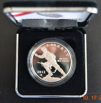 2012-W INFANTRY SOLDIER COMMEMORATIVE PROOF SILVER DOLLAR w/ BOX & PAPERS