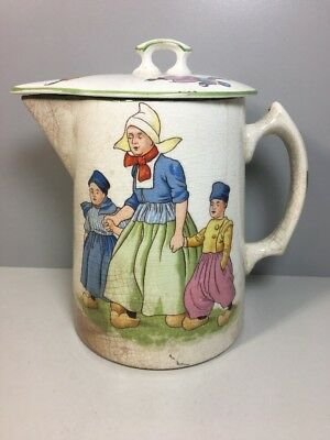 Vintage Edwin Knowles Coffee Pot Dutch Family Pitcher & Fitted Lid
