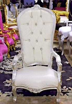 "ADORABLE!! WHITE High Back Baby Throne Chair - 40"" Tall - Silver Finish"