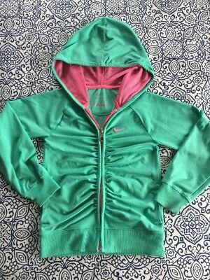 Nike Girls Dri-Fit Full Zip Ruched Front Green Hoodie Jacket Size 5