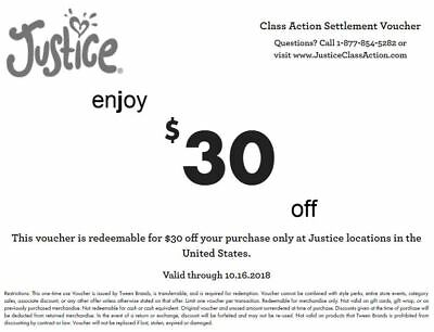 JUSTICE IN-STORE $30 USD OFF EXPIRES 10/16/2018 e-voucher