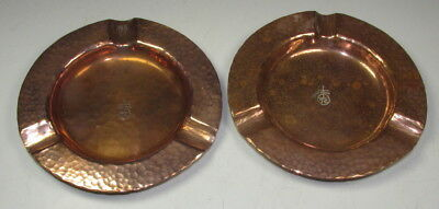 2 Roycroft Hammered Copper Ashtrays Arts & Crafts Signed Early Mark No Reserve