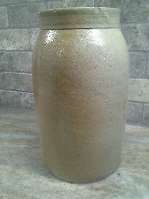 Primitive Antique Stoneware Crock Preserve Jar