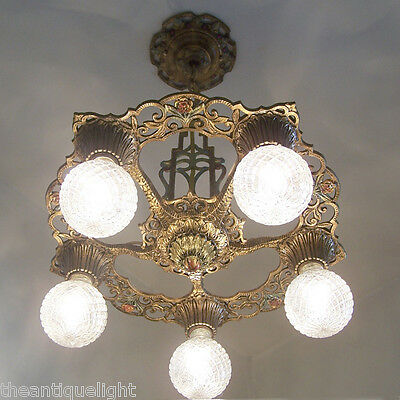 685 Vintage 20s 30s Ceiling Light lamp fixture art nouveau polychrome chandelier