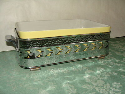 "Hal l10.5""  Casserole with Silver tone Tray"