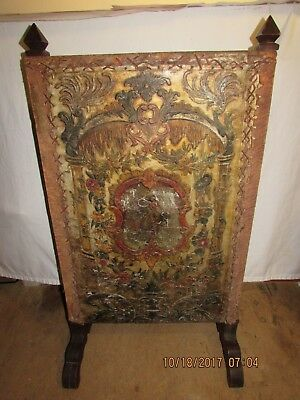 Rare Antique Vintage Leather Fireplace Screen Wood Stand Beautiful Art