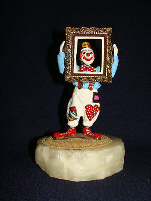 Ron Lee Art Sculpture Clown With Picture Frame FRAMED