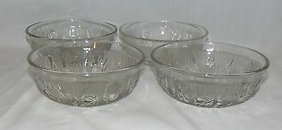 "4 Jeannette IRIS CRYSTAL *5"" CEREAL BOWLS* HARD TO FIND*"