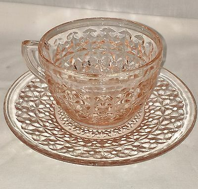 """Jeannette HOLIDAY PINK *3 1/2"""" CUP & SAUCER* PLAIN BOTTOM*"""