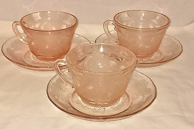3 Macbeth Evans DOGWOOD PINK *THICK CUPS & SAUCERS*