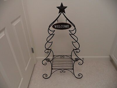 "Black Folding Metal Plant Stand ""Welcome"" Christmas Tree Decor Shelf Porch Foyer"