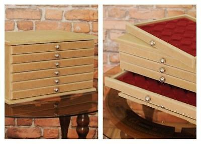 Chest Coin Tray Collection Cabinet for 6 Trays Perfect for Coins Medals made MDF