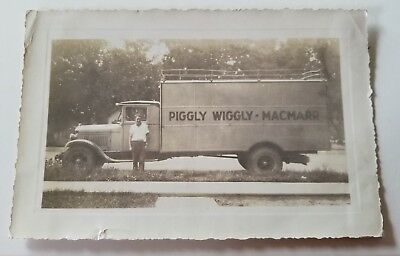 Vintage Piggly Wiggly Macmarr Grocery Truck and Driver Photo Picture