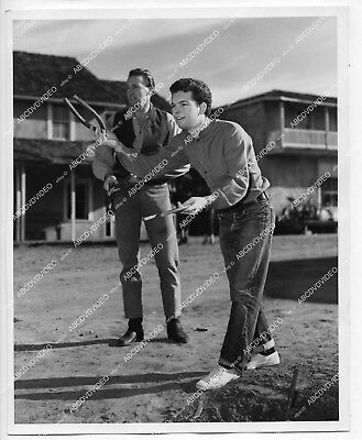 1956 orig dblwt photo Russ Tamblyn plays horseshoes on location film The Fastest