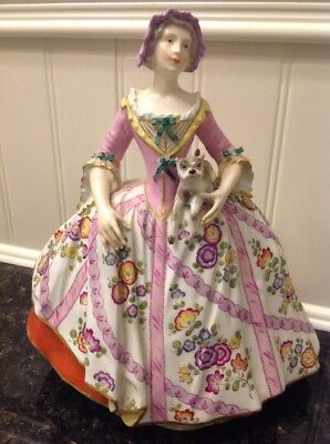 Antique Meissen Figurine Elegant Woman With Pug Dog