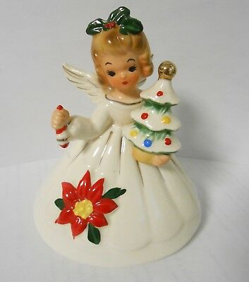 Vintage Josef Originals Angel Holding Christmas Tree and Ornament Stickers