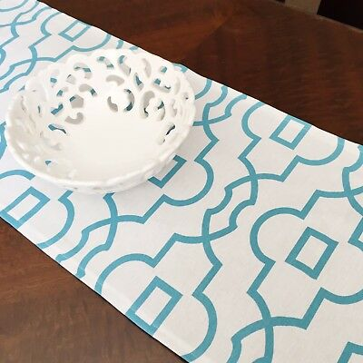 Hopscotch Table Runner - Turquoise Geometric On White