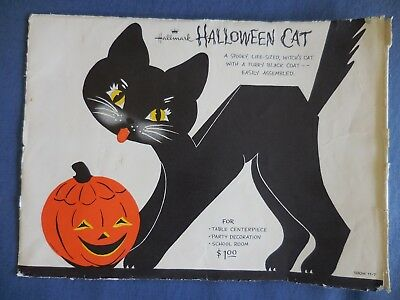 Vintage Halloween Black Cat Hallmark w Envelope and Instructions