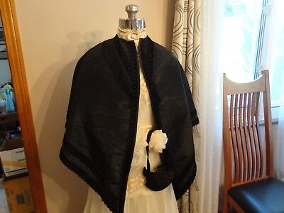 Antique Victorian 1800s Black Mourning CAPE AND matching Sweet Antique PURSE