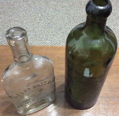 Two Medicine Bottles-Late 1800's/Early 1900's Gilbert Bros and Saxlehner