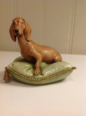 Original Giuseppe Cappe Capodimonte Porcelain Dachshund On A Cushion Ca 1950's