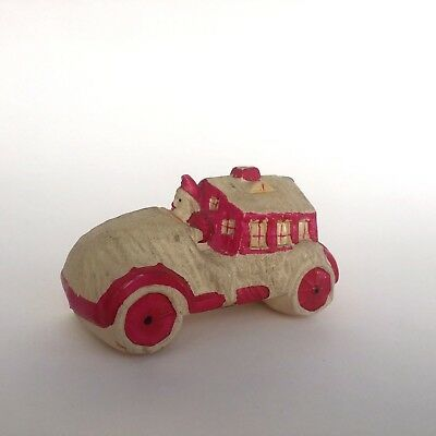 Celluloid Santa in Christmas Hot Rod Race Car SS Made in Japan 3.5 Inches Long