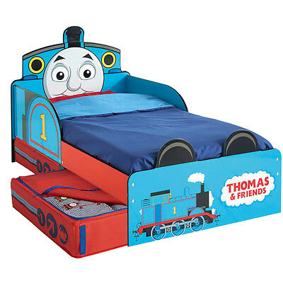 Thomas & Friends Kids Toddler Bed with Drawer Wooden Sleep Cot Blue WORL610011