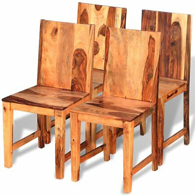 4 pcs Dining Chairs Solid Sheesham Wood Kitchen Living Room 40x46x87 cm Brown