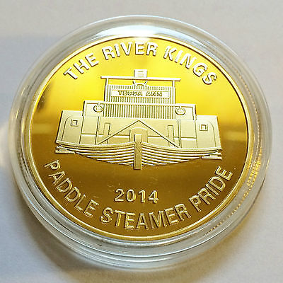 """2014 """"The River Kings"""" Certified 1 Oz Gold Coin, Paddle Steamer, Boat, Murray"""