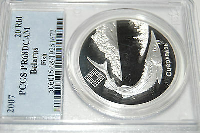 2007 Belarus S20R STURGEON PCGS PF68 silver coin proof rouble