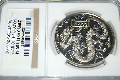 2000 Mongolia Year of the DRAGON CuNi50T NGC PF68 coin proof