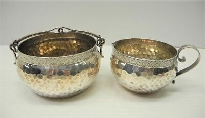 Old Hand Hammered SHREVE & CO San Francisco Sterling Silver Creamer & Sugar Bowl