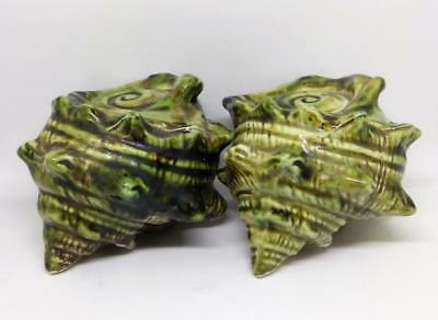 Vintage Collectable Ceramic Green Conch Sea Shell Salt & Pepper Shakers