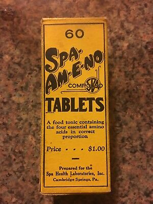 1925 Cambridge Springs Unopened Mineral Vitamins Bottle with Original Packaging